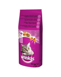 WHISKAS Adult 14kg- sausas kačių maistas su jautiena ir daržovėmis + NEMOKAMAS SKANĖSTAS