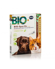 PESS BIO Spot-on lašai nuo erkių ir blusų mažiems šunims ir katėms  4x1 g su neemo aliejumi