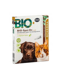 PESS BIO Spot-on lašai nuo erkių ir blusų vidutiniams ir dideliems šunims 4x2,5 g su neemo aliejumi