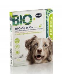 PESS BIO Spot-on lašai nuo erkių ir blusų vidutiniams ir dideliems šunims 4x2 g su pelargonijų aliejumi ir dimetikonu