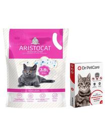 Dr PetCare MAX Biocide Collar Antkaklis nuo blusų ir vabždžių katėms 42 cm + ARISTOCAT Silikoninis kraikas PREMIUM katėms 3.8 l bekvapis