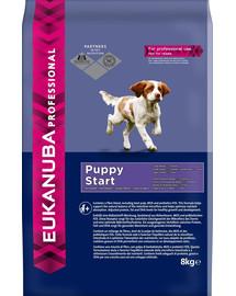 EUKANUBA PROFESSIONAL Puppy Start visoms veislėms 8 kg + 8IN1  Palutės skirti išmokti švaros žolės kvapo