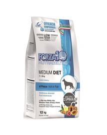 FORZA10 Medium Diet su žuvimi hipoalergiškas sausas maistas suaugusiems vidutinio  veislės šunims 12 kg