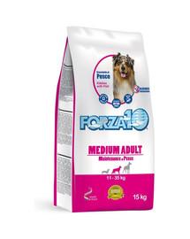FORZA10 Medium Maintenance su žuvimi sausas maistas suaugusiems vidutinės veislės šunims 15 kg