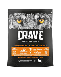 CRAVE Grūdų neturintis sausas šunų maistas su kalakutiena ir vištiena 5 x 1kg