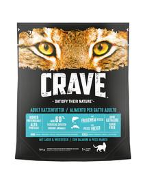 CRAVE sausas grūdų neturintis kačių maistas su lašiša ir balta žuvimi5 x 750 g