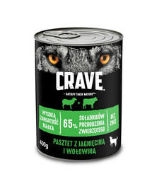 CRAVE 24 x 400g - Paštetas su aviena ir jautiena (pilnavertis drėgnas maistas be grūdų suaugusiems šunims)