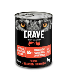 CRAVE konservai  24 x 400g -paštetas su lašiša ir kalakutiena pilnavertis šlapias maistas be grūdų suaugusiems šunims
