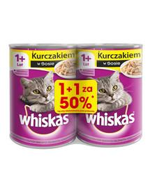 WHISKAS Adult konservai 24x400g - šlapias kačių maistas su vištiena padaže (12 vnt., 50%)