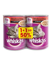 WHISKAS Adult konservai 24x400g - šlapias kačių maistas su jautiena padaže (12vnt. už 50%)