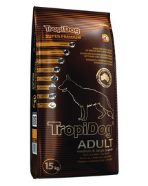 TROPIDOG Super Premium Adult M&L Lamb&Rice 15kg sucha karma dla psów dużych i średnich ras Jagnięcina i ryż