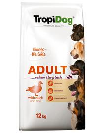 TROPIDOG Premium Adult M&L Duck&Rice 12kg sucha karma dla psów średnich i dużych ras Kaczka i ryż