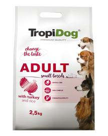 TROPIDOG Premium Adult S Turkey&Rice 2,5g sausas maistas mažų veislių šunims kalakutiena  ir ryžiai