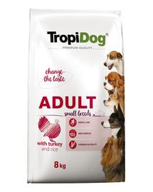 TROPIDOG Premium Adult S Turkey&Rice 8kg sausas maistas mažų veislių šunims kalakutiena  ir ryžiai