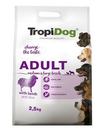 TROPIDOG Premium Adult M&L Lamb&Rice 2,5kgsausas maistas vidutinių ir didelių veislių šunims. ėriena ir ryžiai