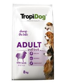 TROPIDOG Premium Adult S Lamb&Rice 8kg sausas maistas mažų veislių šunims aviena ir ryžiai