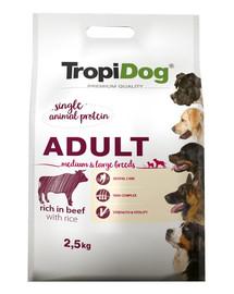 TROPIDOG Premium Adult M&L Beef&Rice 2,5kg sucha karma dla psów średnich i dużych ras Wołowina i ryż