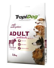TROPIDOG Premium Adult S Beef&Rice 2,5kg sausas maistas mažų veislių šunims Jautiena ir ryžiai