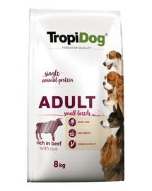 TROPIDOG Premium Adult S Beef&Rice 8kg sausas maistas mažų veislių šunims Jautiena ir ryžiai