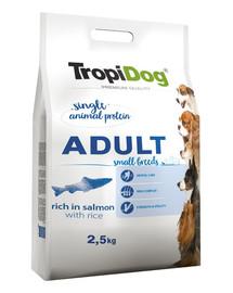TROPIDOG Premium Adult S Salmon&Rice 2,5 kg sausas maistas mažų veislių šunims Lašiša ir ryžiai