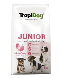 TROPIDOG Premium Junior S&M Turkey&Rice 8kg   sausas maistas mažų ir vidutinių veislių kalakutiena  ir ryžiai šuniukams