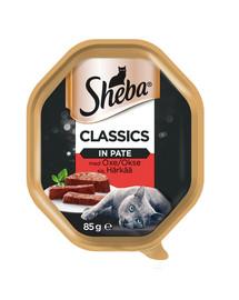 SHEBA Classics 85gx22 z Wołowiną - šlapias kačių maistas paštete + 6x50g Fresh & Fine FREE