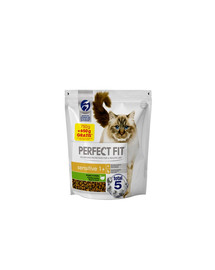 PERFECT FIT (Sensitive 1+) 1,4 kg (750 g + 650 g NEMOKAMAI praturtintas kalakutiena - sausas maistas katėms su jautria virškinimo sistema
