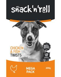 SNACK & ROLL Chicken and Fish Twists Lazdelės su vištiena ir žuvimi 3x200 g 2 + 1 NEMOKAMAI