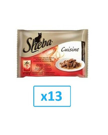 SHEBA konservai 52 x 85 g Selection in Sauce Sultingi skoniai - šlapias kačių maistas padaže (su jautiena, ėriena, vištiena, kalakutiena) + dubuo nemokamai