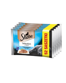 SHEBA konservai  52x85g Selection in Sauce Žuvies skoniai - šlapias kačių maistas padaže (su balta žuvimi, lašiša, menkėmis, tunu) + dubuo nemokamai