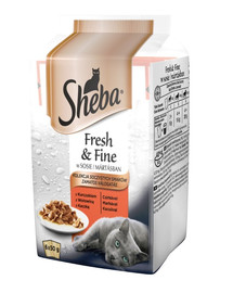 SHEBA konservai 72x50g Fresh & Fine -šlapias kačių maistas padaže (vištiena, jautiena, antis) + dubuo nemokamai