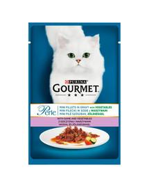 GOURMET Perle elniena su daržovės 24x85 g drėgnas maistas katėms