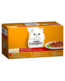 GOURMET Gold Dalys padaže jautienos, kalakutienos ir antiena, vištiena ir kepenys, lašišų ir vištienos 48x85g šlapias kačių maistas