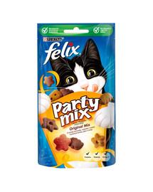 FELIX Party Mix Orginal Miksas su vištienos, sūrio ir kalakutienos skoniu 8x60g