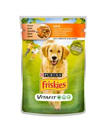 FRISKIES Vitafit Adultsu vištiena ir morkomis padaže 20x100g šlapias šunų maistas