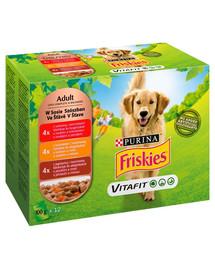 FRISKIES Vitafit Adult Mėsos skonių mišinys 72x100g drėgnas maistas suaugusiems šunims
