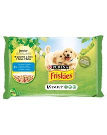 FRISKIES Vitafit Junior su vištiena ir žirneliais drebučiuose 4x100g šlapias šuniukų maistas