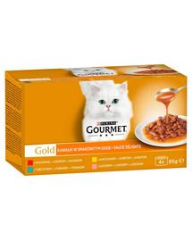 GOURMET Gold Sauce Delights skonių mišinys padaže 4x85g šlapias kačių maistas