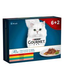 """GOURMET Perle """"Mini filės  padaže (jautiena, vištiena, triušis, lašiša) kolekcija. 8x85g drėgnas kačių maistas"""