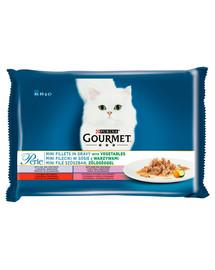 GOURMET Perle Mini filės su daržovėmis padaže(veršiena, jautiena, žvėriena, upėtakis) 4x85g šlapias kačių maistas