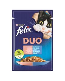 FELIX Duo Lašiša ir sardinė drebučiuose 85 g kačių drėgnas maistas