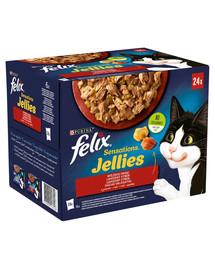 FELIX Sensations Jellies Kaimo skoniai drebučiuose 24x85g drėgnas kačių maistas