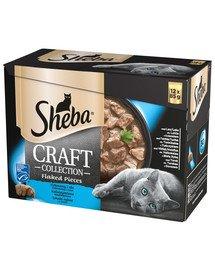SHEBA Saszetka 48x85g Craft Collection Smaki Rybne - šlapias kačių maistas padaže (su lašiša, tunu, balta žuvimi, menkėmis) + dubuo nemokamai