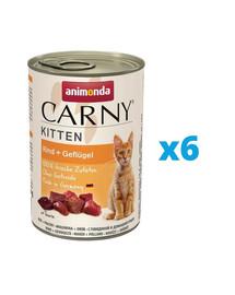 ANIMONDA Carny Kitten rinkinys Jautiena ir paukštiena 6 x 400 g