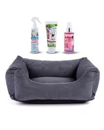 FERA Shine Legowisko sofa dla psa L 117 x 80 x 30 cm + FREXIN spray insektobójczy na legowiska, szampon i odżywka