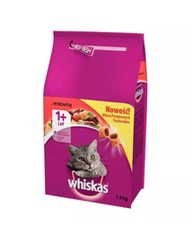 WHISKAS Adult sausas maistas katėms su jautiena 1.4 kg x6
