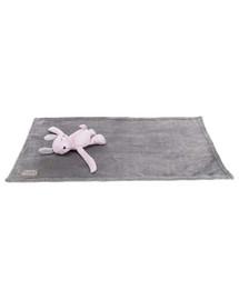 TRIXIE Junior rinkinys triušis su antklode, pliušinis, 75 x 50 cm, pilka / alyvinė