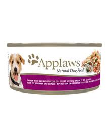 APPLAWS skardinė 156 g vištienos + kumpis + daržovės šunims
