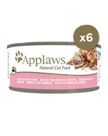 APPLAWS Cat Tin 6 x 156 g kačių šlapias maistas su tunu ir krevetėmis