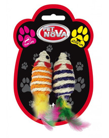 PET NOVA Pelė žaislas katėms 7x3 cm, 2 vnt rinkinys